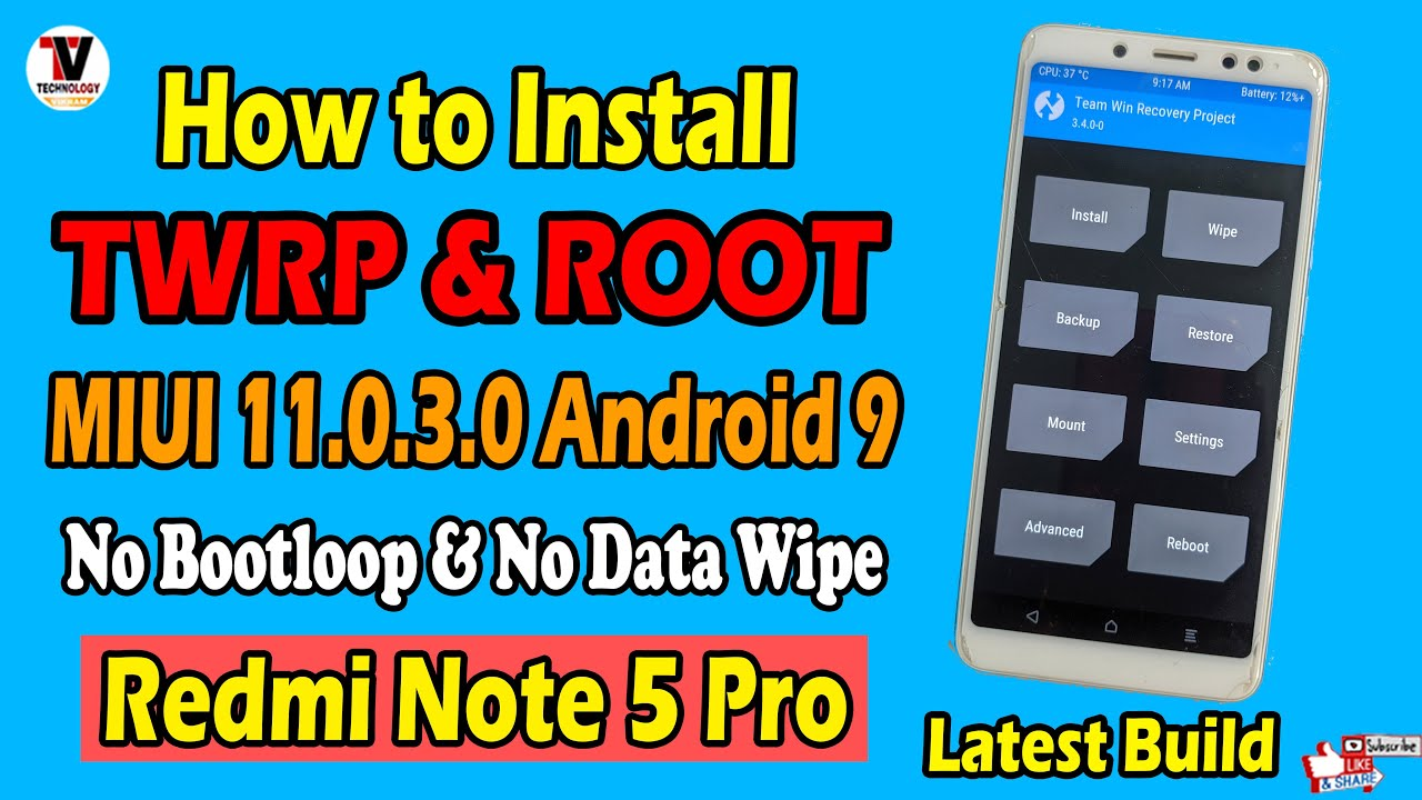 How to Install TWRP Recovery 3.4.0 Latest Build & Root on Redmi Note 5 Pro | MIUI 11 Android 9 |