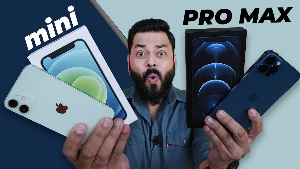 iPhone 12 Mini & iPhone 12 Pro Max Unboxing ⚡ Mini is So Tiny, Max is So Big #android
