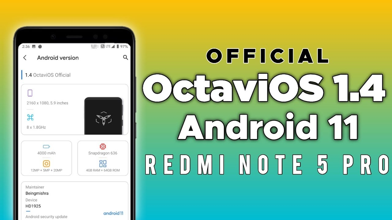 Install This Coolest Android 11 On Redmi Note 5 Pro Ft.octavios 1.4 | Let's Rock🤘🤘🤘