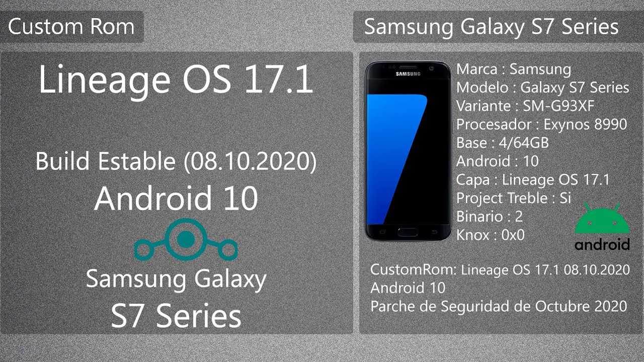 Lineage OS 17.1 – Build 08.10.2020 – Android 10 – Samsung Galaxy S7/S7E