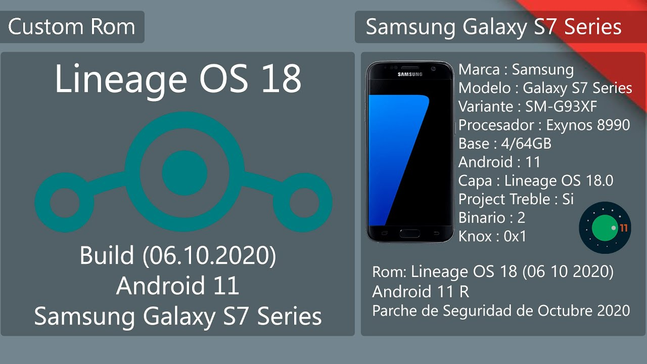 Lineage OS 18 – Build 06.10.2020 – Android 11 – Samsung Galaxy S7/S7E