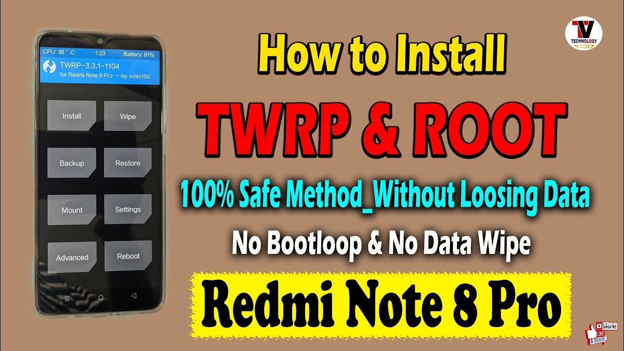 how to install twrp and root on redmi note 8 pro   100% safe method   no bootloop   best video  