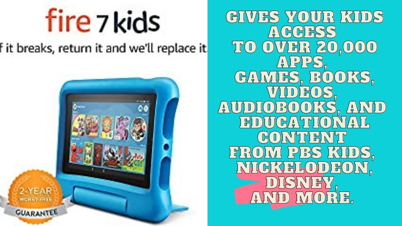 Fire 7' Kids Edition Tablet, 7'' Display, 16 GB, Blue Kid-Proof Case, Best Product