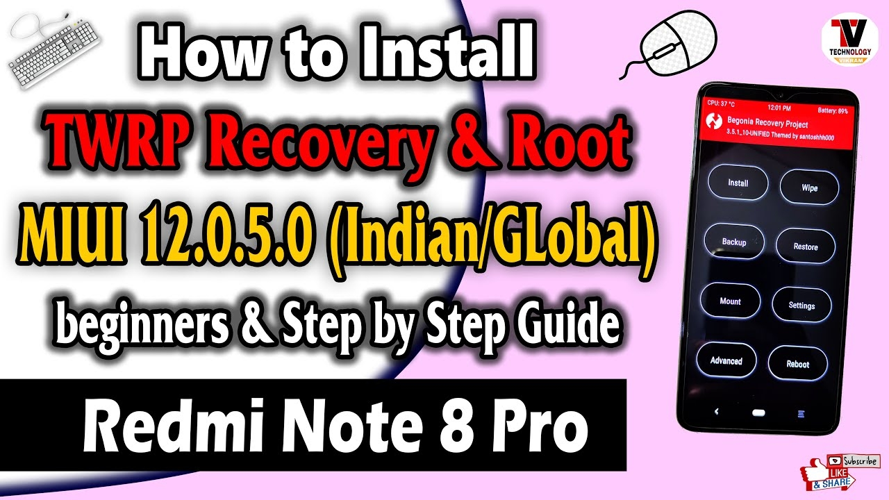 How to Install TWRP Recovery & Root On Redmi Note 8 Pro   MIUI 12.0.5.0   (One Click Installation)  